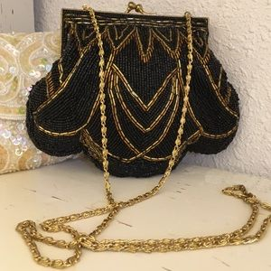 Black & Gold Beaded 90s Clutch